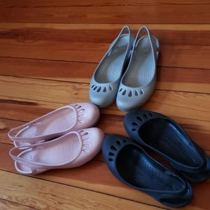 Lot of 3 Pairs of Crocs Ladies Shoes Size 11